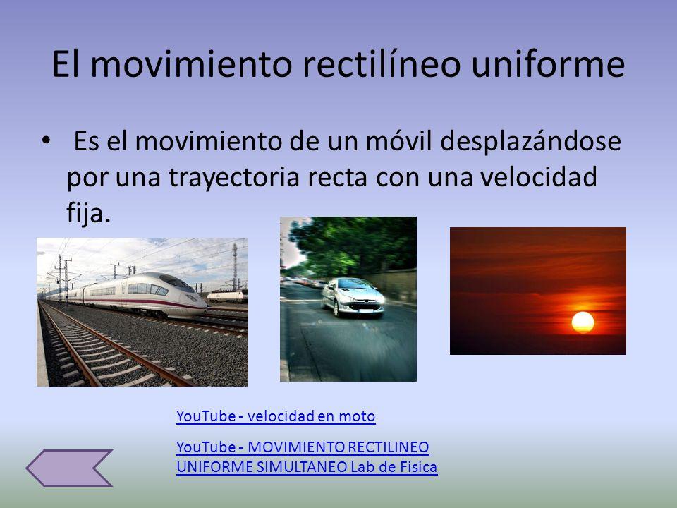El movimiento rectilíneo uniforme Es el movimiento de un móvil desplazándose por una trayectoria recta con una velocidad fija. YouTube - velocidad en