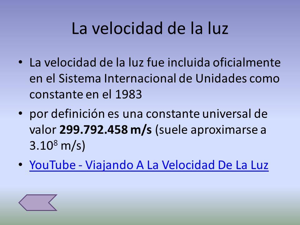 La velocidad de la luz La velocidad de la luz fue incluida oficialmente en el Sistema Internacional de Unidades como constante en el 1983 por definici
