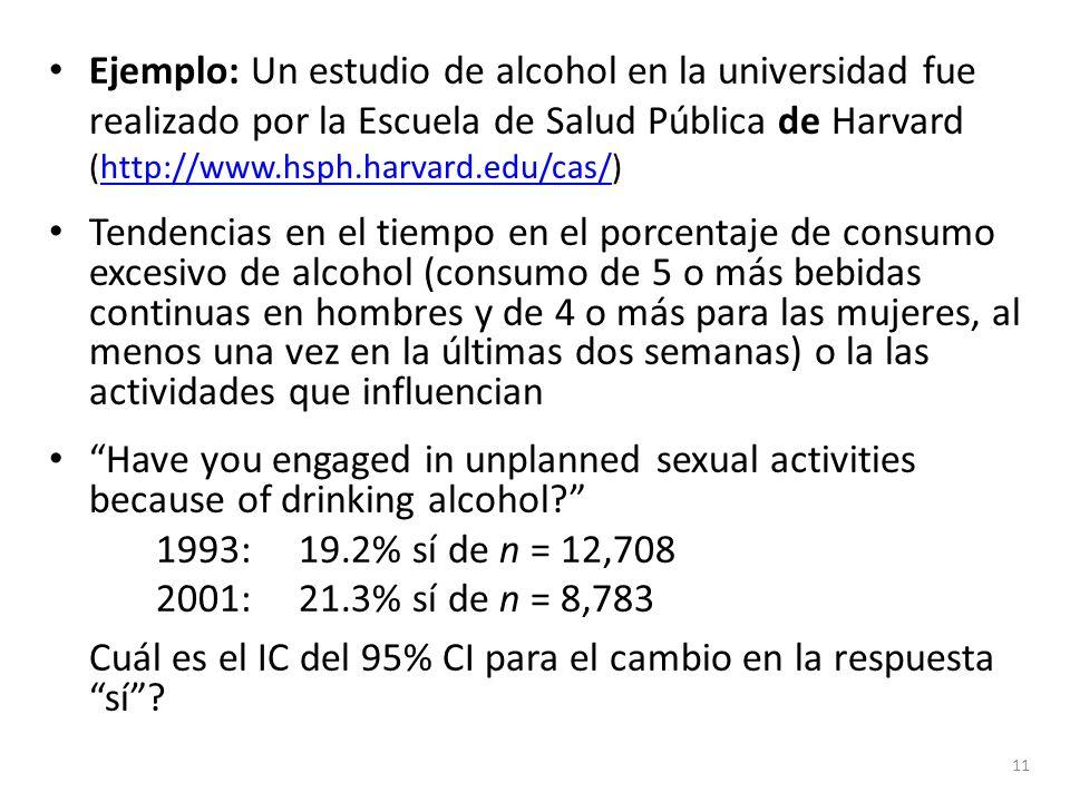 Ejemplo: Un estudio de alcohol en la universidad fue realizado por la Escuela de Salud Pública de Harvard (http://www.hsph.harvard.edu/cas/)http://www