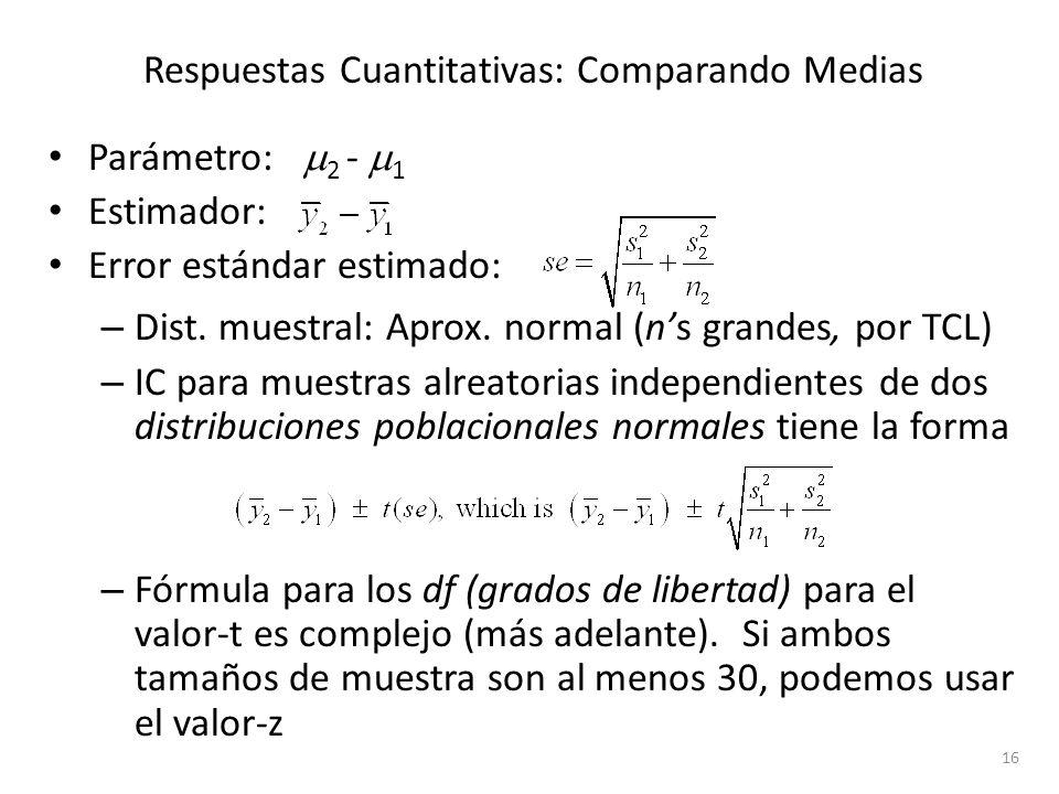 Respuestas Cuantitativas: Comparando Medias Parámetro: 2 - 1 Estimador: Error estándar estimado: – Dist. muestral: Aprox. normal (ns grandes, por TCL)