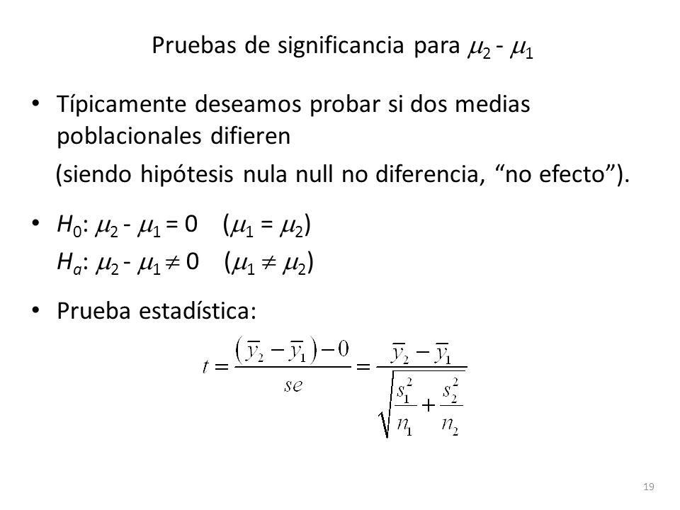 Pruebas de significancia para 2 - 1 Típicamente deseamos probar si dos medias poblacionales difieren (siendo hipótesis nula null no diferencia, no efe