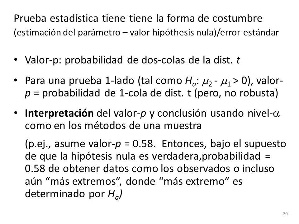 Prueba estadística tiene tiene la forma de costumbre (estimación del parámetro – valor hipóthesis nula)/error estándar Valor-p: probabilidad de dos-co