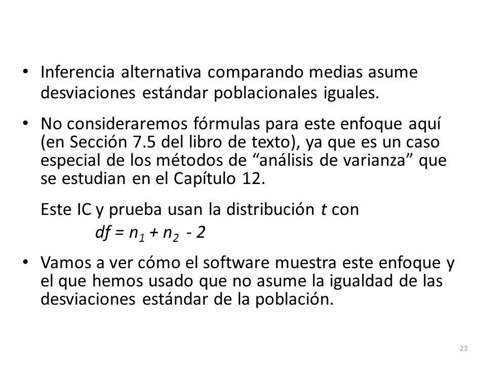 Inferencia alternativa comparando medias asume desviaciones estándar poblacionales iguales. No consideraremos fórmulas para este enfoque aquí (en Secc