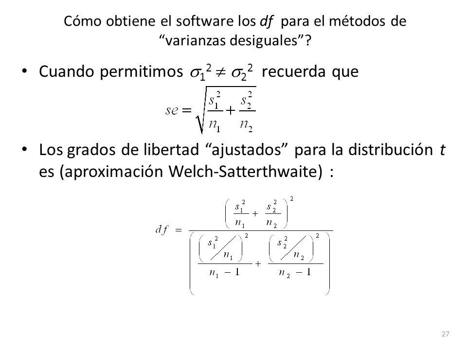 Cómo obtiene el software los df para el métodos de varianzas desiguales? Cuando permitimos 1 2 2 2 recuerda que Los grados de libertad ajustados para