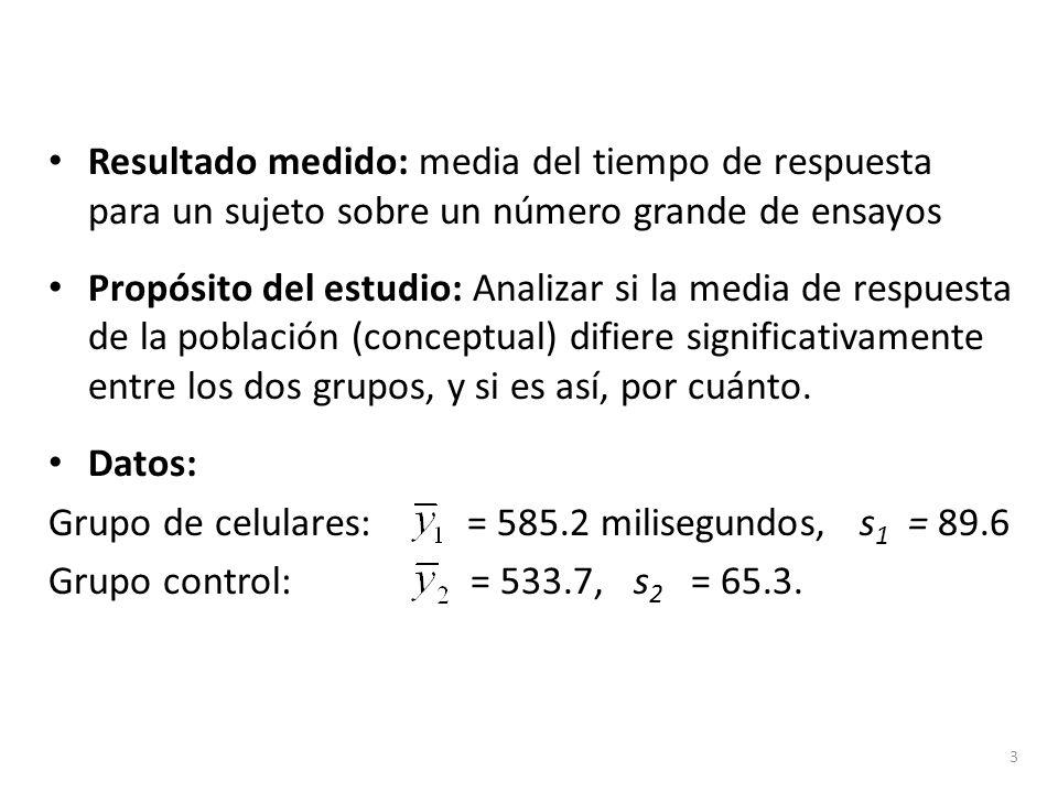Resultado medido: media del tiempo de respuesta para un sujeto sobre un número grande de ensayos Propósito del estudio: Analizar si la media de respue