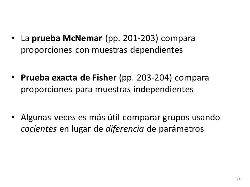 La prueba McNemar (pp. 201-203) compara proporciones con muestras dependientes Prueba exacta de Fisher (pp. 203-204) compara proporciones para muestra