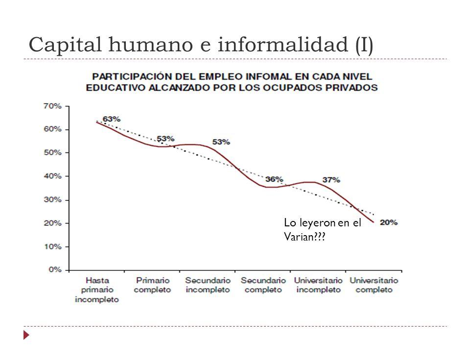Capital humano e informalidad (I) Lo leyeron en el Varian