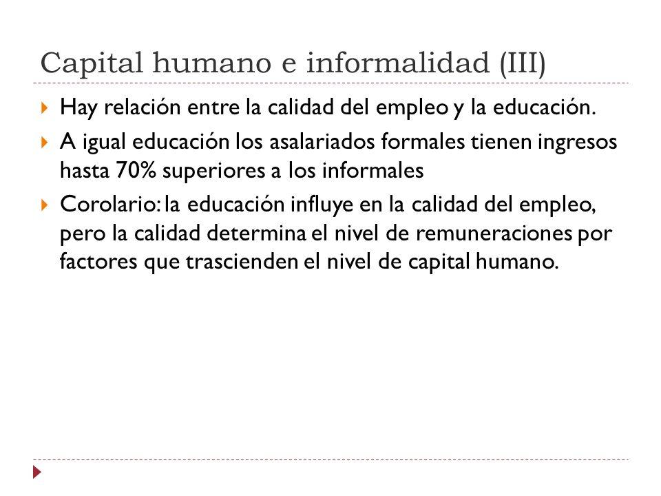 Capital humano e informalidad (III) Hay relación entre la calidad del empleo y la educación.