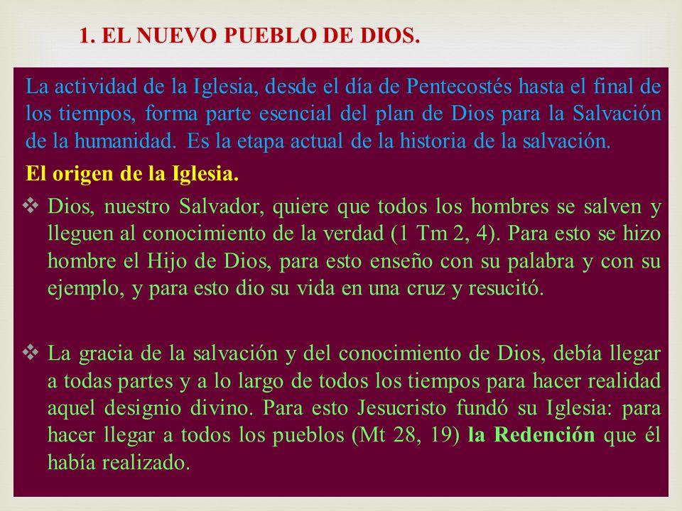 La actividad de la Iglesia, desde el día de Pentecostés hasta el final de los tiempos, forma parte esencial del plan de Dios para la Salvación de la h