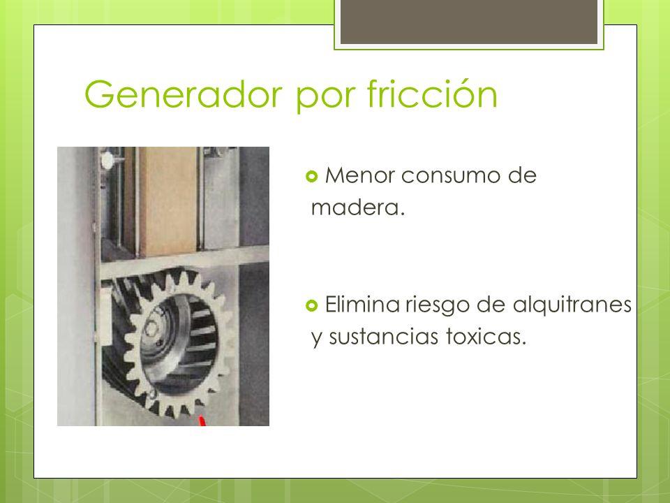 Generador por fricción Menor consumo de madera. Elimina riesgo de alquitranes y sustancias toxicas.