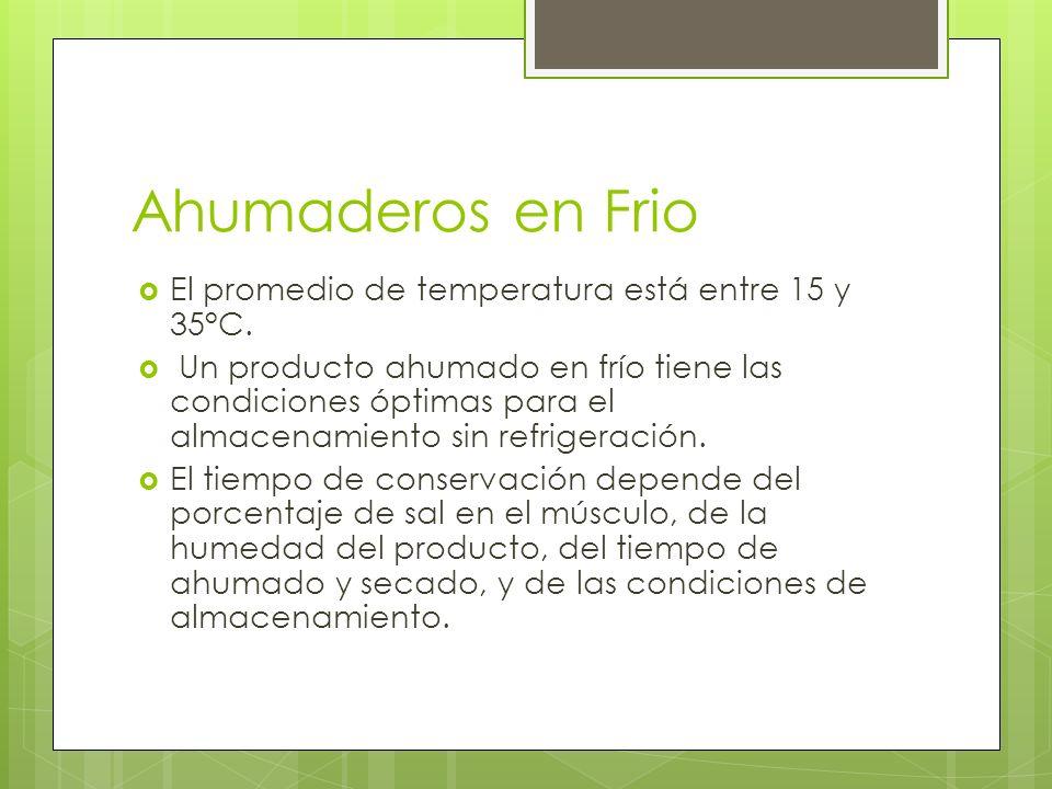 Ahumaderos en Frio El promedio de temperatura está entre 15 y 35°C. Un producto ahumado en frío tiene las condiciones óptimas para el almacenamiento s
