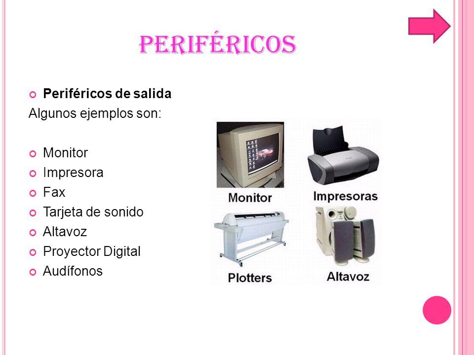 PERIFÉRICOS Periféricos de almacenamiento Existen algunos como: Disco duro Unidad de CD Unidad de DVD Unidad de Blu-ray Disc Memoria flash Memoria USB Cinta magnética Tarjeta perforada Memoria portátil