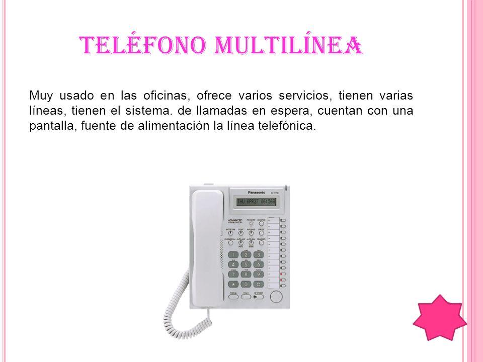 CENTRALES TELÉFONICAS Teléfono muy especial, muy utilizado en las empresas y esta destinado a ser utilizado por una operadora, ya que sus función es para atender llamadas y luego transmitirlas otro anexo, el micro teléfono es remplazado por un cintillo, tienen una pantalla, fuente de alimentación un enchufe al cual esta conectado a través de un transformador.