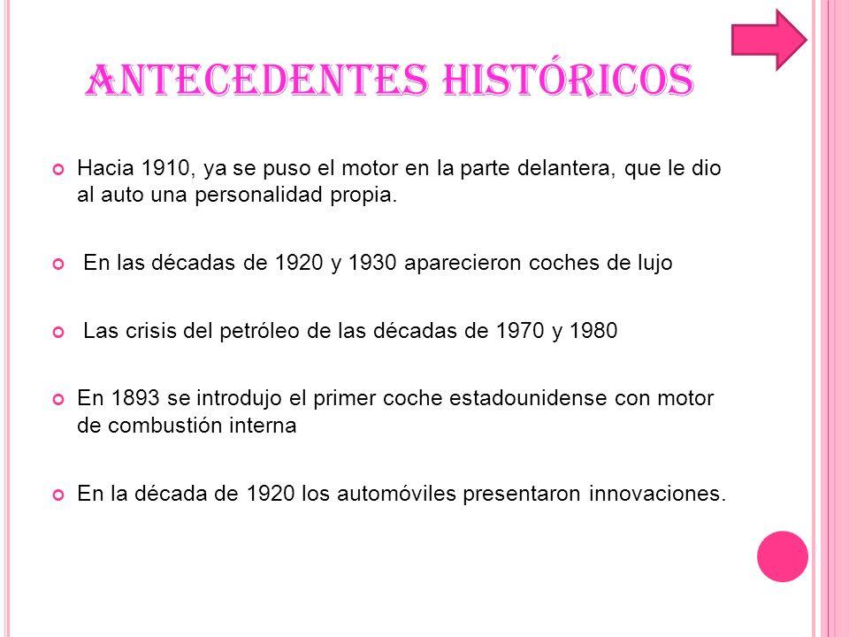 ANTECEDENTES HISTÓRICOS En la década de 1930 los automóviles eran más aerodinámicos que sus predecesores.