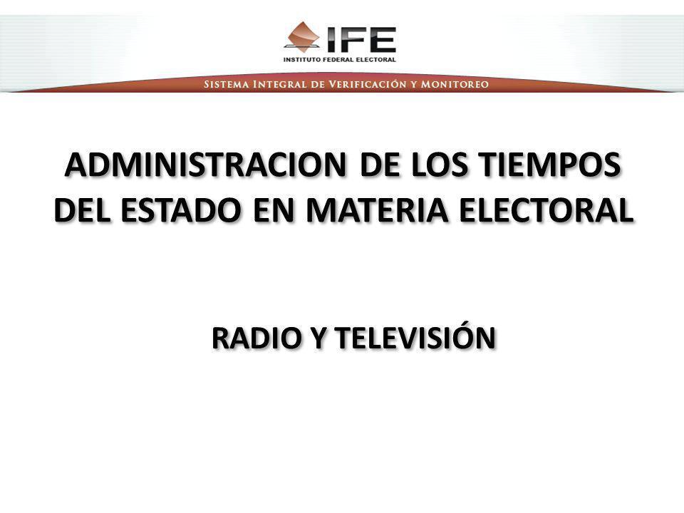 ADMINISTRACION DE LOS TIEMPOS DEL ESTADO EN MATERIA ELECTORAL RADIO Y TELEVISIÓN