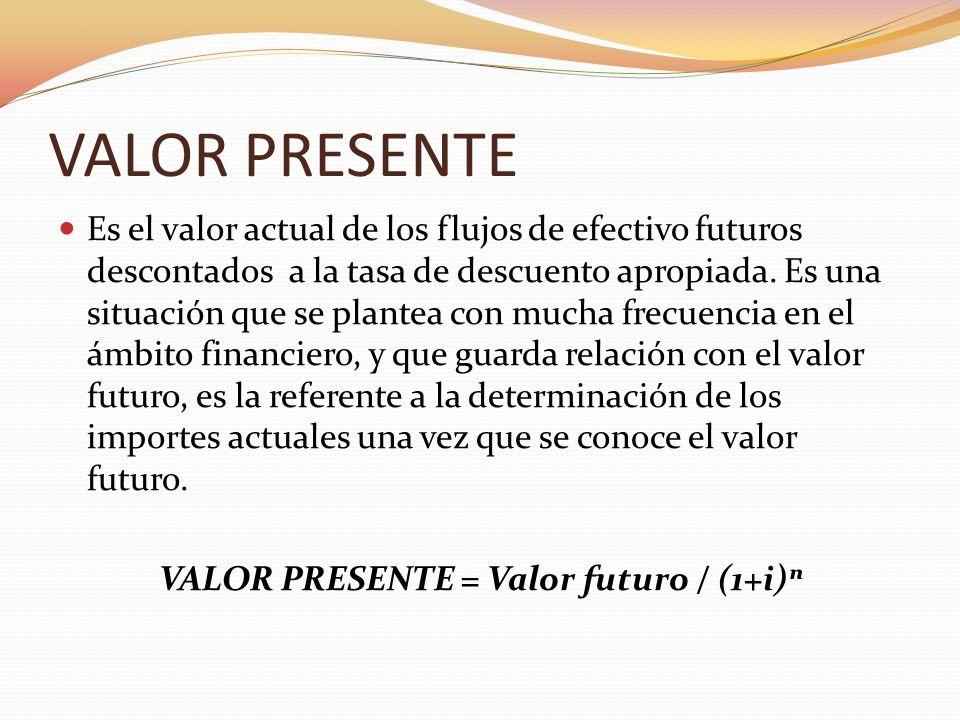 VALOR PRESENTE Es el valor actual de los flujos de efectivo futuros descontados a la tasa de descuento apropiada. Es una situación que se plantea con