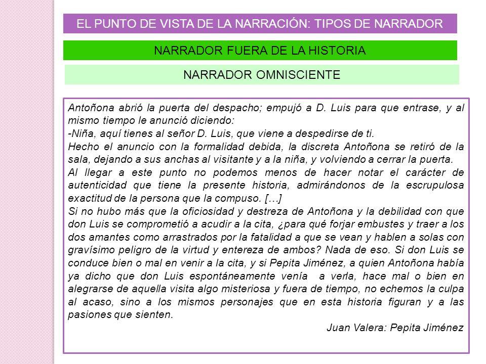 EL PUNTO DE VISTA DE LA NARRACIÓN: TIPOS DE NARRADOR NARRADOR FUERA DE LA HISTORIA Antoñona abrió la puerta del despacho; empujó a D. Luis para que en