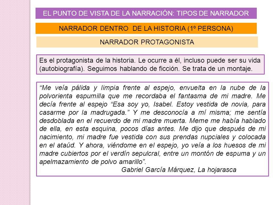 EL PUNTO DE VISTA DE LA NARRACIÓN: TIPOS DE NARRADOR NARRADOR DENTRO DE LA HISTORIA (1º PERSONA) Es el protagonista de la historia. Le ocurre a él, in