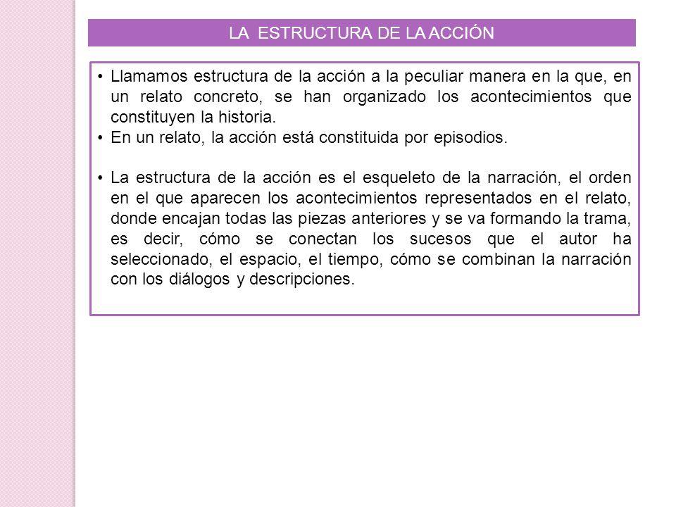 LA ESTRUCTURA DE LA ACCIÓN Llamamos estructura de la acción a la peculiar manera en la que, en un relato concreto, se han organizado los acontecimient