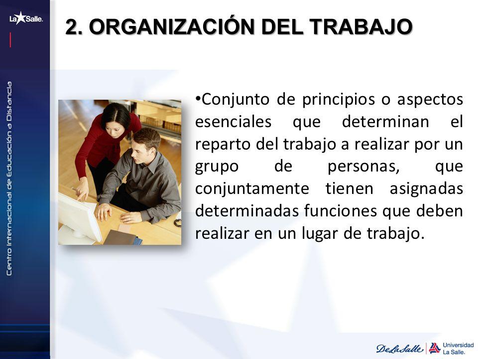Conjunto de principios o aspectos esenciales que determinan el reparto del trabajo a realizar por un grupo de personas, que conjuntamente tienen asign
