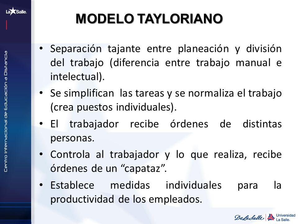 MODELO TAYLORIANO Separación tajante entre planeación y división del trabajo (diferencia entre trabajo manual e intelectual). Se simplifican las tarea