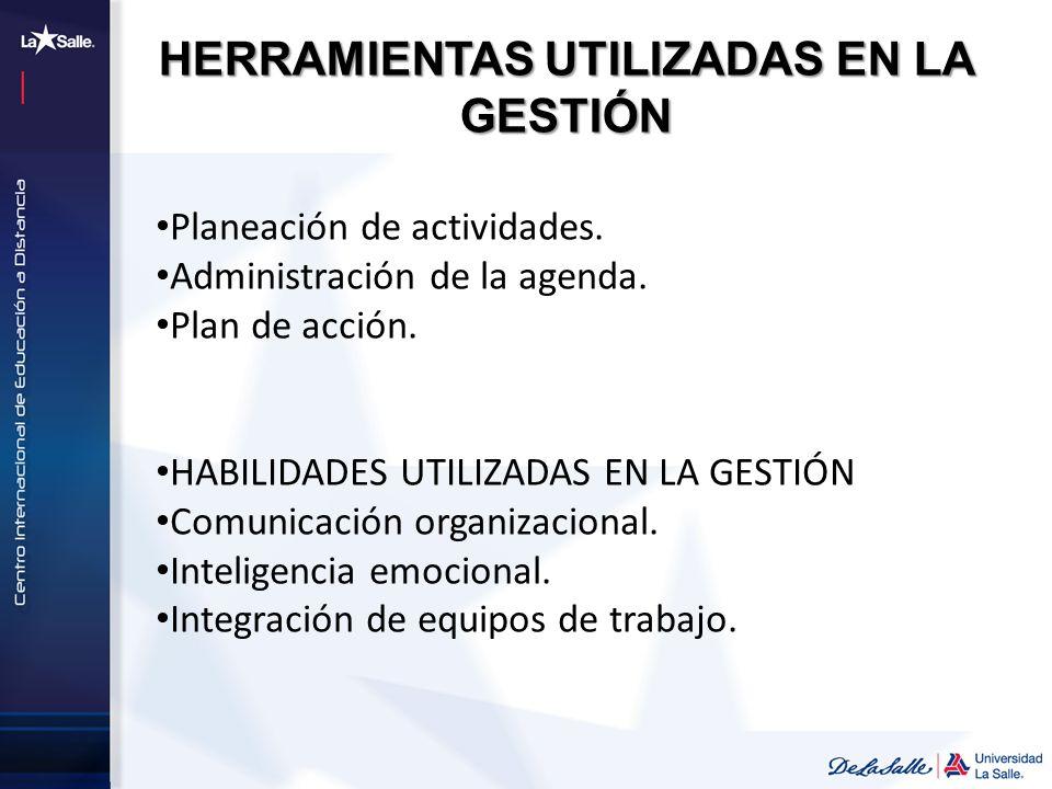 Planeación de actividades. Administración de la agenda. Plan de acción. HABILIDADES UTILIZADAS EN LA GESTIÓN Comunicación organizacional. Inteligencia