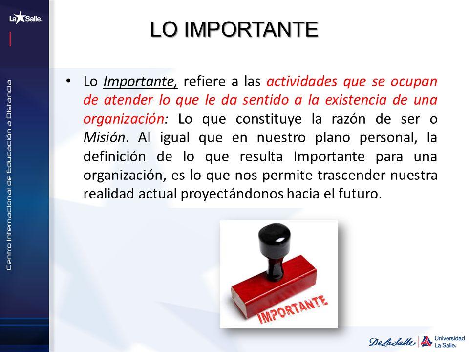 LO IMPORTANTE Lo Importante, refiere a las actividades que se ocupan de atender lo que le da sentido a la existencia de una organización: Lo que const