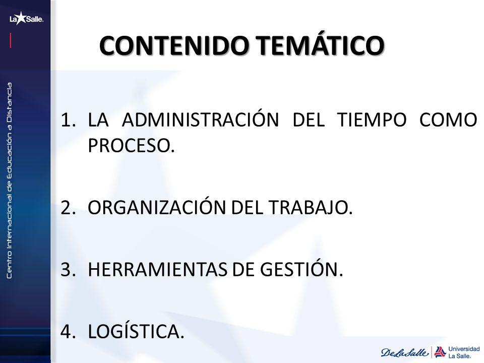 CONTENIDO TEMÁTICO 1.LA ADMINISTRACIÓN DEL TIEMPO COMO PROCESO. 2.ORGANIZACIÓN DEL TRABAJO. 3.HERRAMIENTAS DE GESTIÓN. 4.LOGÍSTICA.