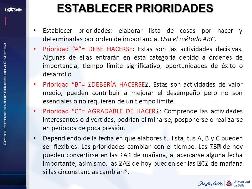 ESTABLECER PRIORIDADES Establecer prioridades: elaborar lista de cosas por hacer y determinarlas por orden de importancia. Usa el método ABC. Priorida