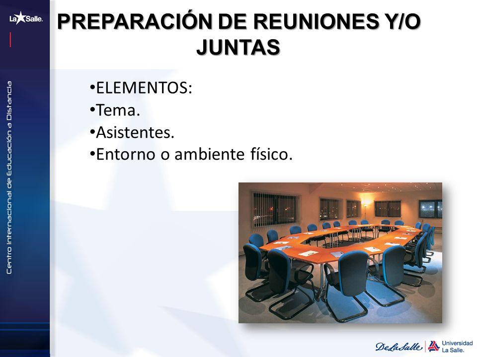 PREPARACIÓN DE REUNIONES Y/O JUNTAS ELEMENTOS: Tema. Asistentes. Entorno o ambiente físico.