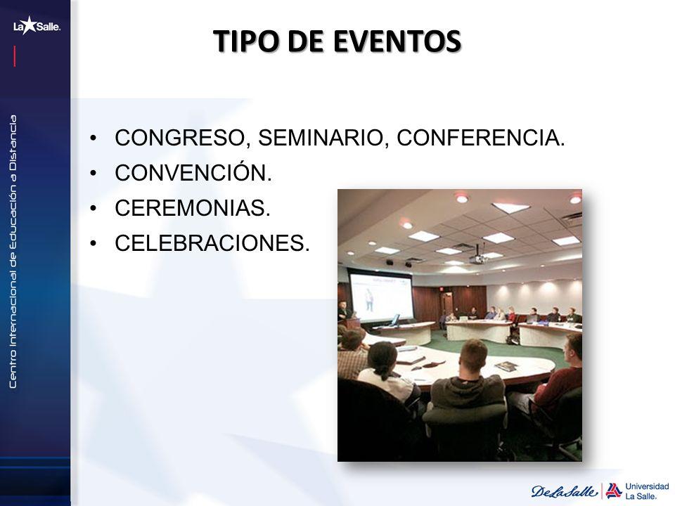 TIPO DE EVENTOS CONGRESO, SEMINARIO, CONFERENCIA. CONVENCIÓN. CEREMONIAS. CELEBRACIONES.