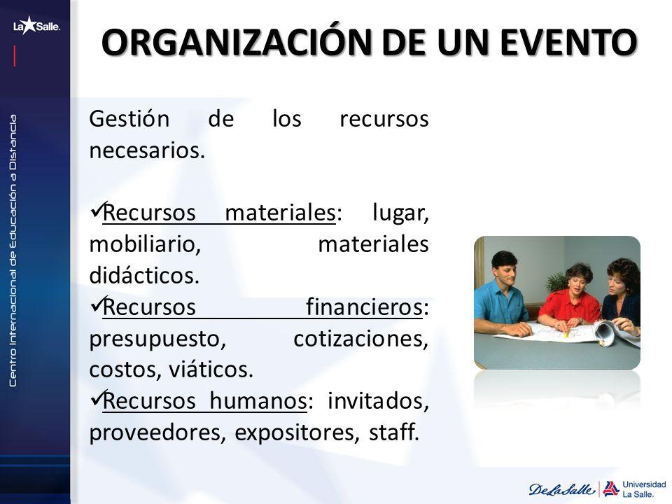 ORGANIZACIÓN DE UN EVENTO Gestión de los recursos necesarios. Recursos materiales: lugar, mobiliario, materiales didácticos. Recursos financieros: pre