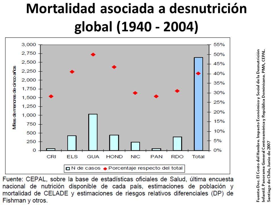 Mortalidad asociada a desnutrición global (1940 - 2004) Fuente Doc. El Costo del Hambre. Impacto Económico y Social de la Desnutrición Infantil. Panor