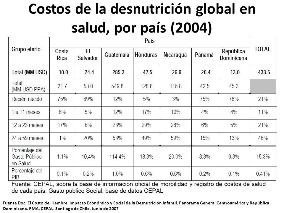 Costos de la desnutrición global en salud, por país (2004) Fuente Doc. El Costo del Hambre. Impacto Económico y Social de la Desnutrición Infantil. Pa