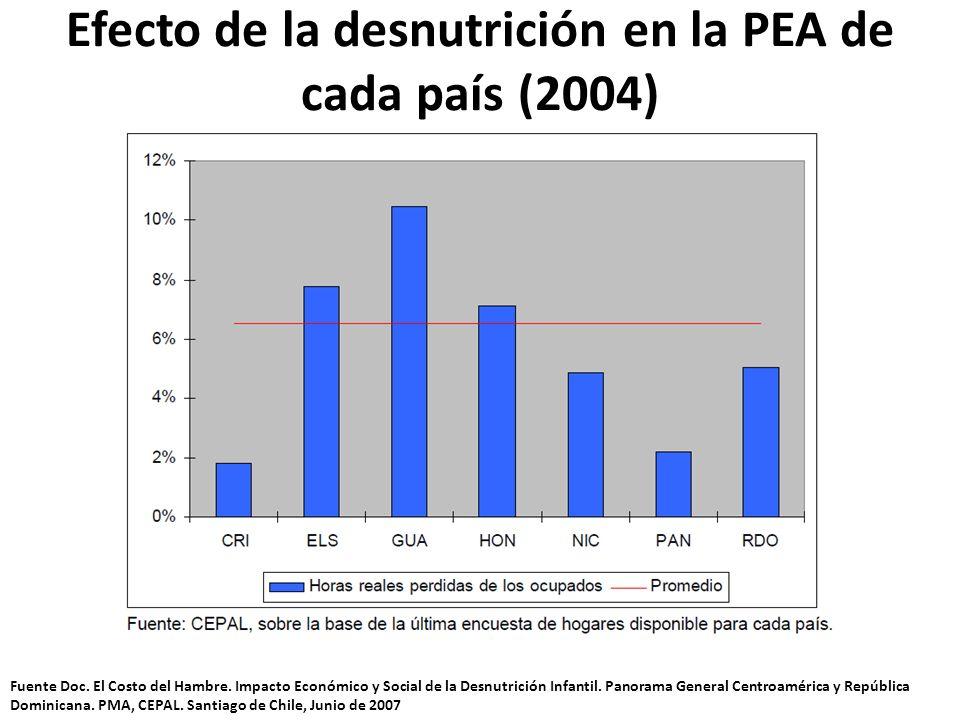 Efecto de la desnutrición en la PEA de cada país (2004) Fuente Doc. El Costo del Hambre. Impacto Económico y Social de la Desnutrición Infantil. Panor