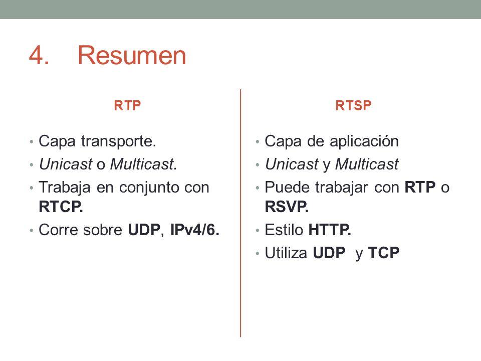 4.Resumen RTP Capa transporte. Unicast o Multicast. Trabaja en conjunto con RTCP. Corre sobre UDP, IPv4/6. RTSP Capa de aplicación Unicast y Multicast