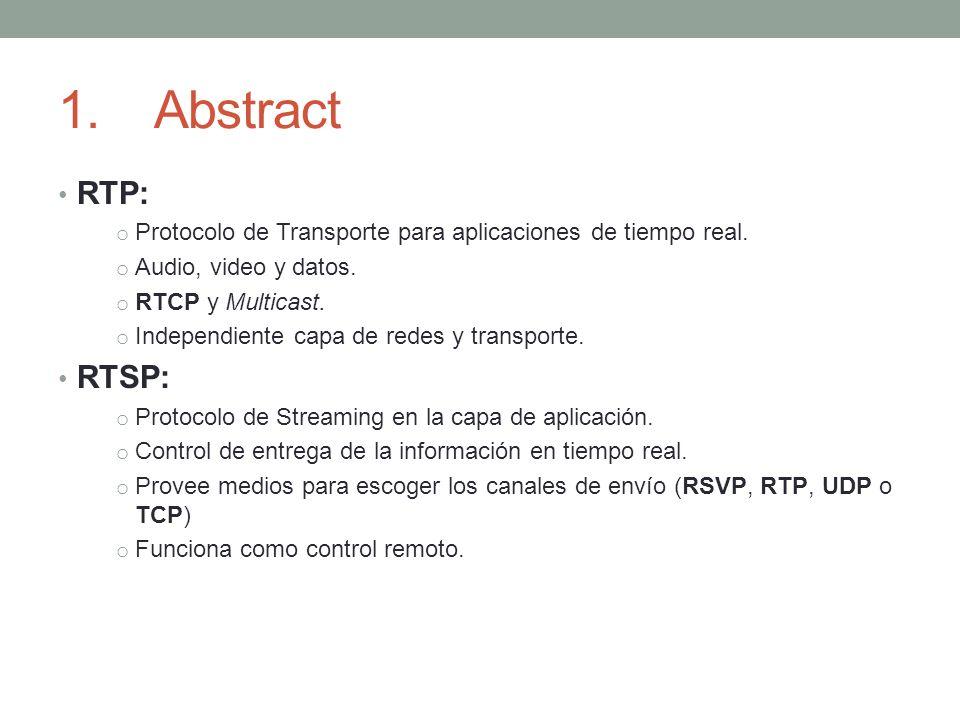 1.Abstract RTP: o Protocolo de Transporte para aplicaciones de tiempo real. o Audio, video y datos. o RTCP y Multicast. o Independiente capa de redes