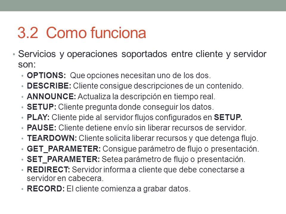 3.2Como funciona Servicios y operaciones soportados entre cliente y servidor son: OPTIONS: Que opciones necesitan uno de los dos. DESCRIBE: Cliente co