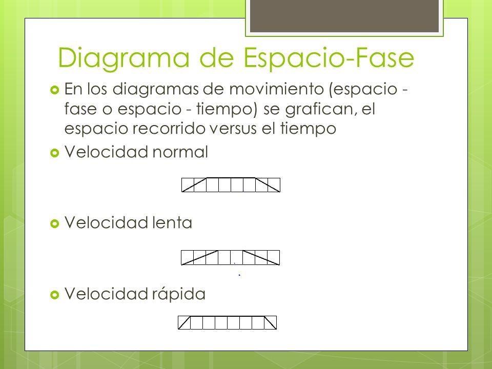 Diagrama de Espacio-Fase En los diagramas de movimiento (espacio - fase o espacio - tiempo) se grafican, el espacio recorrido versus el tiempo Velocid