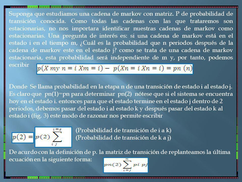 Suponga que estudiamos una cadena de markov con matriz.