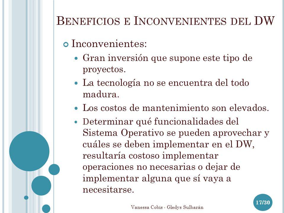 B ENEFICIOS E I NCONVENIENTES DEL DW 17/30 Inconvenientes: Gran inversión que supone este tipo de proyectos.