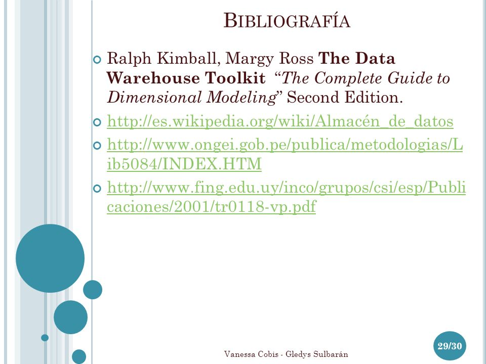 Ralph Kimball, Margy Ross The Data Warehouse Toolkit The Complete Guide to Dimensional Modeling Second Edition. http://es.wikipedia.org/wiki/Almacén_d