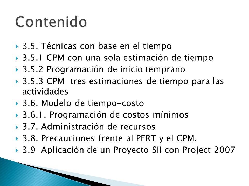 3.5. Técnicas con base en el tiempo 3.5.1 CPM con una sola estimación de tiempo 3.5.2 Programación de inicio temprano 3.5.3 CPM tres estimaciones de t
