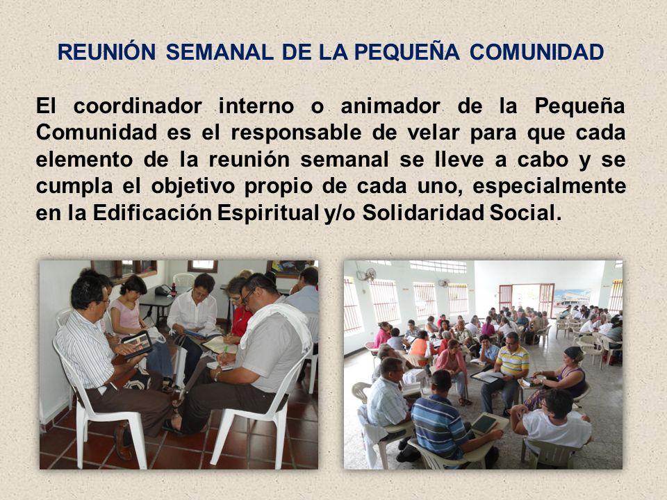 REUNIÓN SEMANAL DE LA PEQUEÑA COMUNIDAD El coordinador interno o animador de la Pequeña Comunidad es el responsable de velar para que cada elemento de