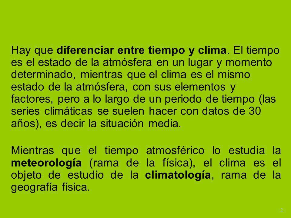 Hay que diferenciar entre tiempo y clima. El tiempo es el estado de la atmósfera en un lugar y momento determinado, mientras que el clima es el mismo