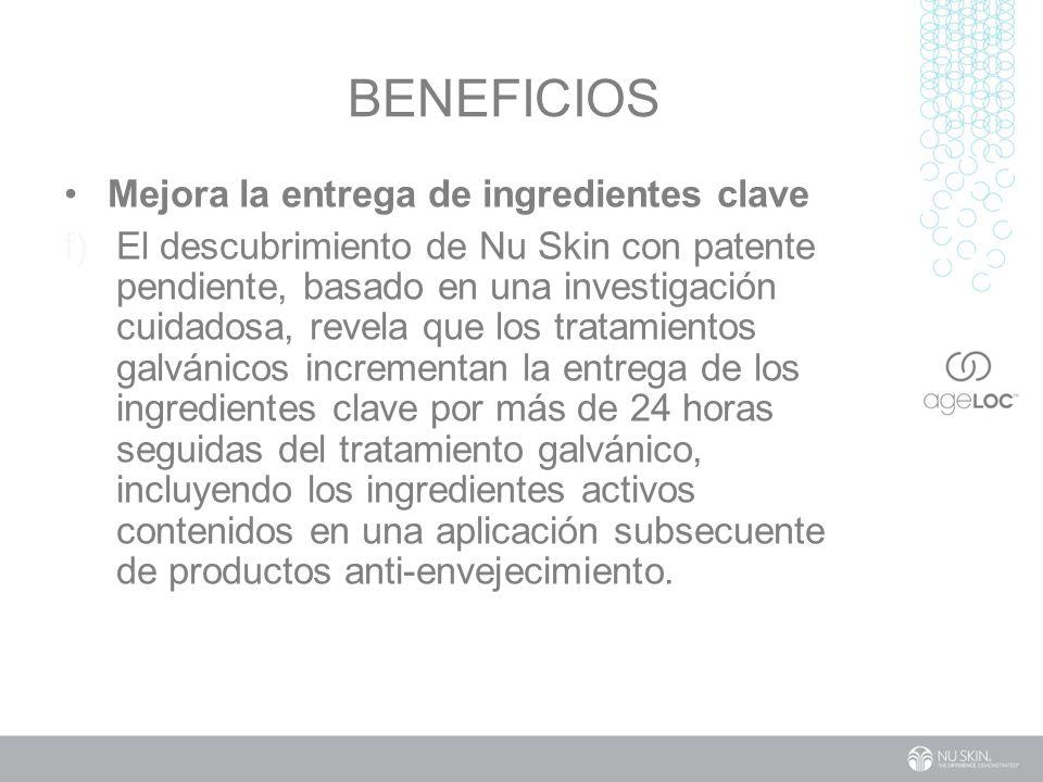 BENEFICIOS Mejora la entrega de ingredientes clave f) El descubrimiento de Nu Skin con patente pendiente, basado en una investigación cuidadosa, revela que los tratamientos galvánicos incrementan la entrega de los ingredientes clave por más de 24 horas seguidas del tratamiento galvánico, incluyendo los ingredientes activos contenidos en una aplicación subsecuente de productos anti-envejecimiento.