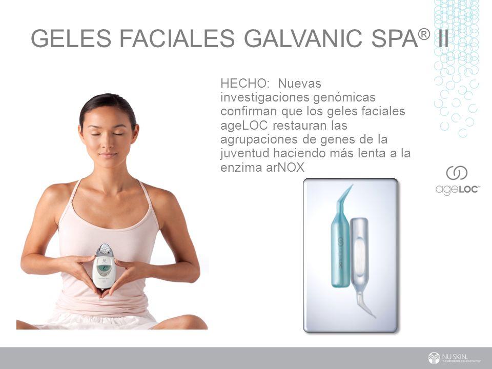 GELES FACIALES GALVANIC SPA ® II HECHO: Nuevas investigaciones genómicas confirman que los geles faciales ageLOC restauran las agrupaciones de genes de la juventud haciendo más lenta a la enzima arNOX
