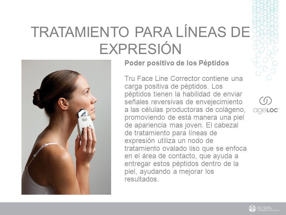 TRATAMIENTO PARA LÍNEAS DE EXPRESIÓN Poder positivo de los Péptidos Tru Face Line Corrector contiene una carga positiva de péptidos.