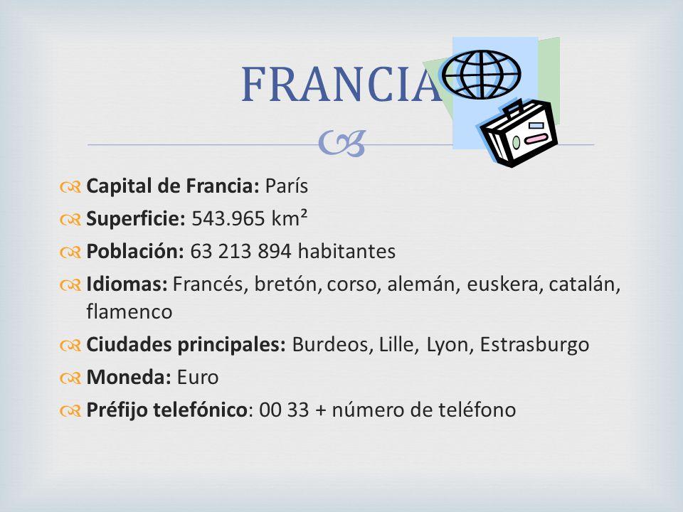 Capital de Francia: París Superficie: 543.965 km² Población: 63 213 894 habitantes Idiomas: Francés, bretón, corso, alemán, euskera, catalán, flamenco Ciudades principales: Burdeos, Lille, Lyon, Estrasburgo Moneda: Euro Préfijo telefónico: 00 33 + número de teléfono FRANCIA