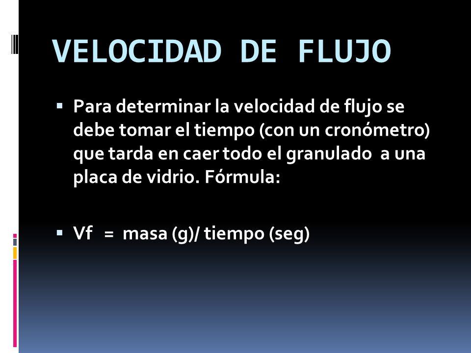 VELOCIDAD DE FLUJO Para determinar la velocidad de flujo se debe tomar el tiempo (con un cronómetro) que tarda en caer todo el granulado a una placa d